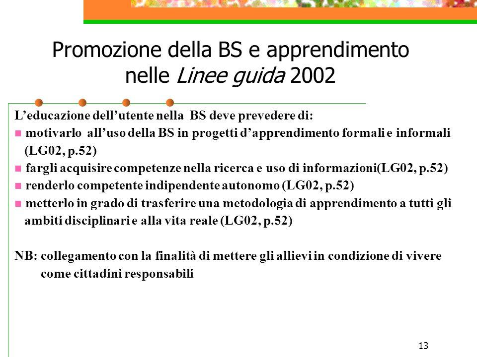 13 Promozione della BS e apprendimento nelle Linee guida 2002 Leducazione dellutente nella BS deve prevedere di: motivarlo alluso della BS in progetti dapprendimento formali e informali (LG02, p.52) fargli acquisire competenze nella ricerca e uso di informazioni(LG02, p.52) renderlo competente indipendente autonomo (LG02, p.52) metterlo in grado di trasferire una metodologia di apprendimento a tutti gli ambiti disciplinari e alla vita reale (LG02, p.52) NB: collegamento con la finalità di mettere gli allievi in condizione di vivere come cittadini responsabili