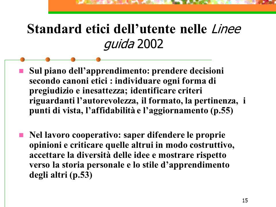 15 Standard etici dellutente nelle Linee guida 2002 Sul piano dellapprendimento: prendere decisioni secondo canoni etici : individuare ogni forma di p