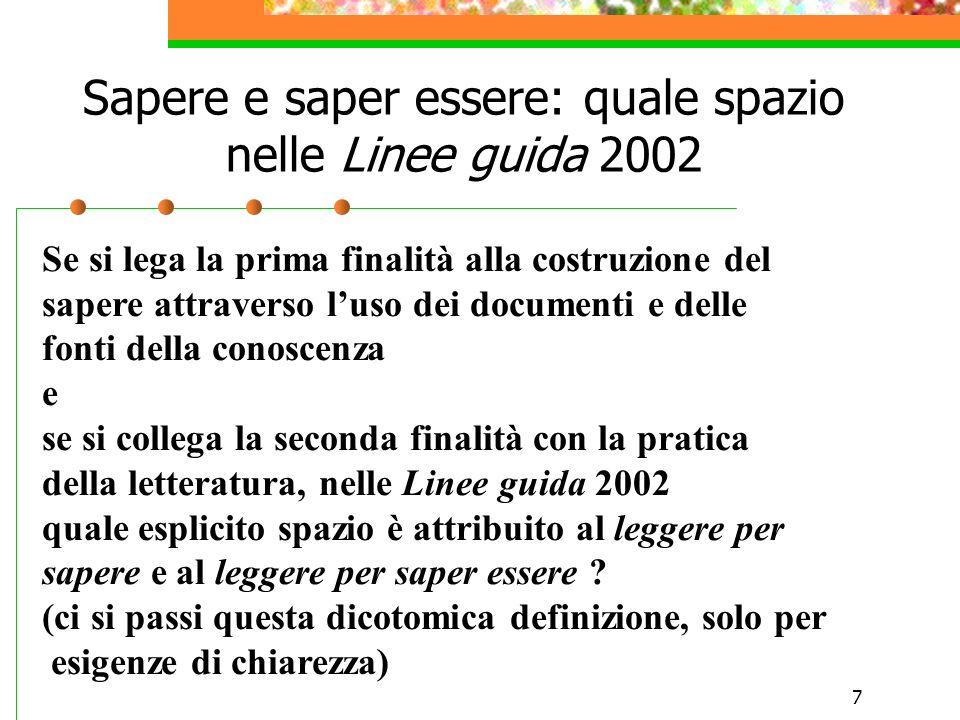 7 Sapere e saper essere: quale spazio nelle Linee guida 2002 Se si lega la prima finalità alla costruzione del sapere attraverso luso dei documenti e