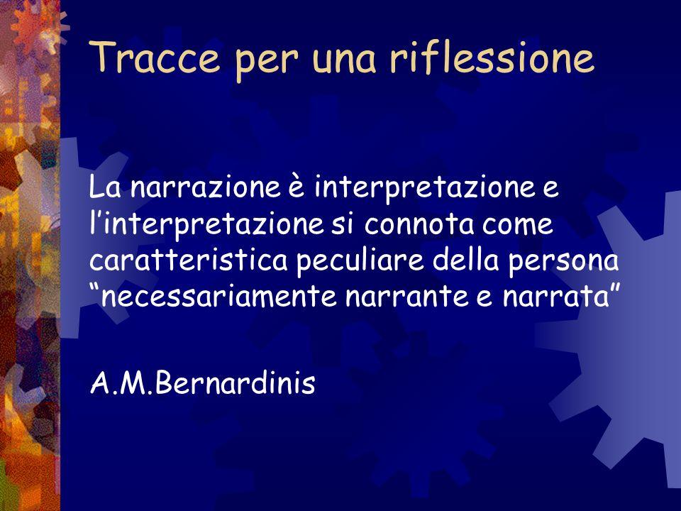 Tracce per una riflessione La narrazione è interpretazione e linterpretazione si connota come caratteristica peculiare della persona necessariamente n
