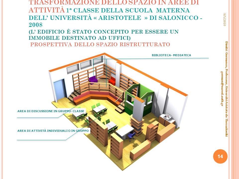 TRASFORMAZIONE DELLO SPAZIO IN AREE DI ATTIVITÀ 1ª CLASSE DELLA SCUOLA MATERNA DELL UNIVERSITÀ « ARISTOTELE » DI SALONICCO - 2008 (L EDIFICIO È STATO