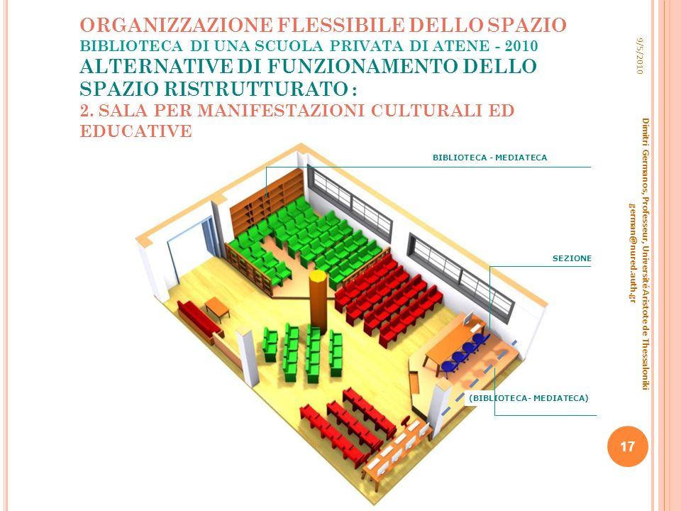 ORGANIZZAZIONE FLESSIBILE DELLO SPAZIO BIBLIOTECA DI UNA SCUOLA PRIVATA DI ATENE - 2010 ALTERNATIVE DI FUNZIONAMENTO DELLO SPAZIO RISTRUTTURATO : 2. S
