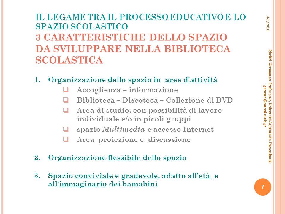 IL LEGAME TRA IL PROCESSO EDUCATIVO E LO SPAZIO SCOLASTICO 3 CARATTERISTICHE DELLO SPAZIO DA SVILUPPARE NELLA BIBLIOTECA SCOLASTICA 9/5/2010 Dimitri G