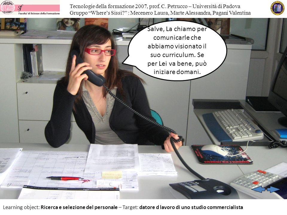 Tecnologie della formazione 2007, prof. C. Petrucco – Università di Padova Gruppo Wheres Sissi.