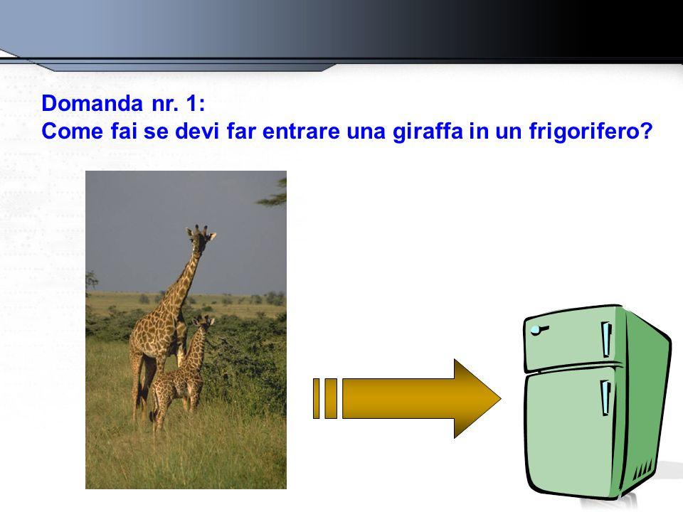 Domanda nr. 1: Come fai se devi far entrare una giraffa in un frigorifero?