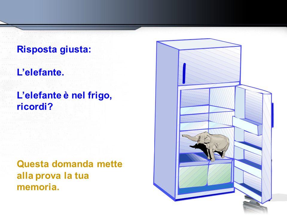 Risposta giusta: Lelefante. Lelefante è nel frigo, ricordi? Questa domanda mette alla prova la tua memoria.