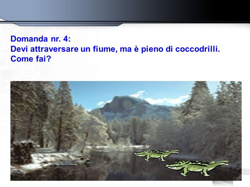 Domanda nr. 4: Devi attraversare un fiume, ma è pieno di coccodrilli. Come fai?