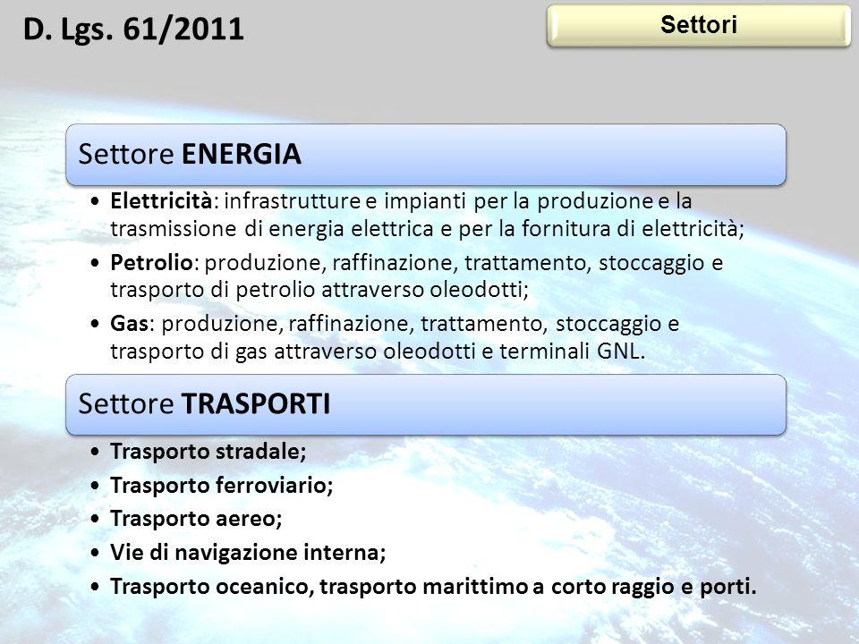 Settore ENERGIA Elettricità: infrastrutture e impianti per la produzione e la trasmissione di energia elettrica e per la fornitura di elettricità; Pet