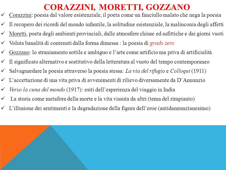 CORAZZINI, MORETTI, GOZZANO Corazzini: poesia dal valore esistenziale, il poeta come un fanciullo malato che nega la poesia Il recupero dei ricordi de