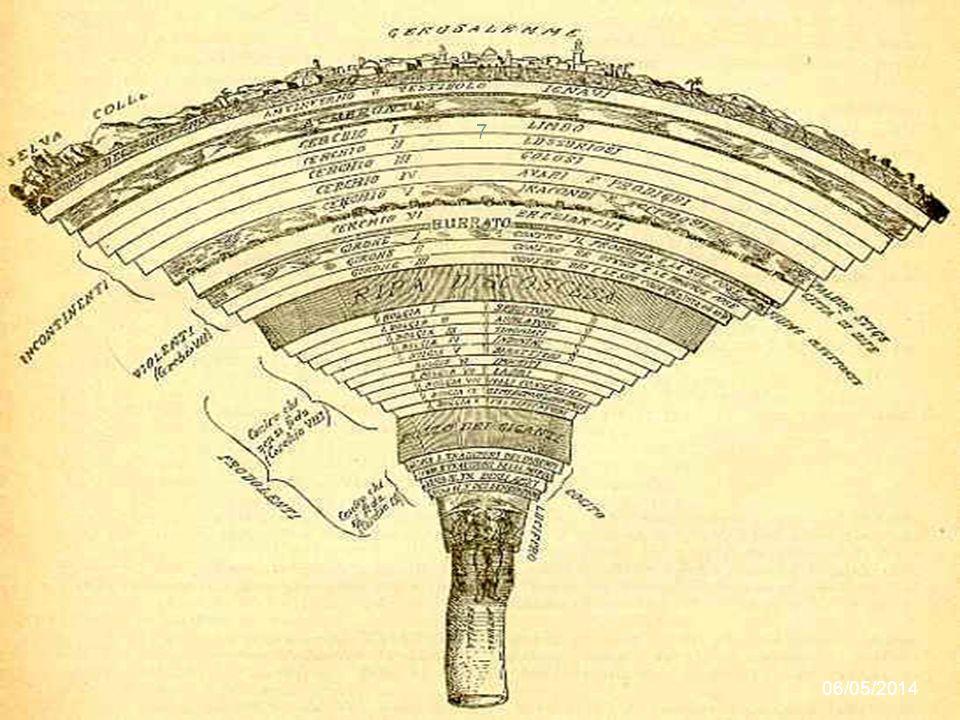 Inferno I dannati sono infatti ripartiti in tre categorie, ciascuna localizzata in una sezione decrescente della cavità sotterranea. L'ordinamento del