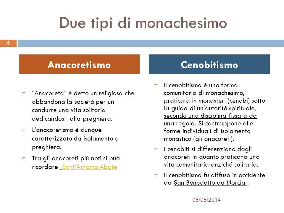 In sintesi: Monaci che vivono in isolamento Monaci che vivono in comunità Anacoreti Cenobiti 06/05/20146