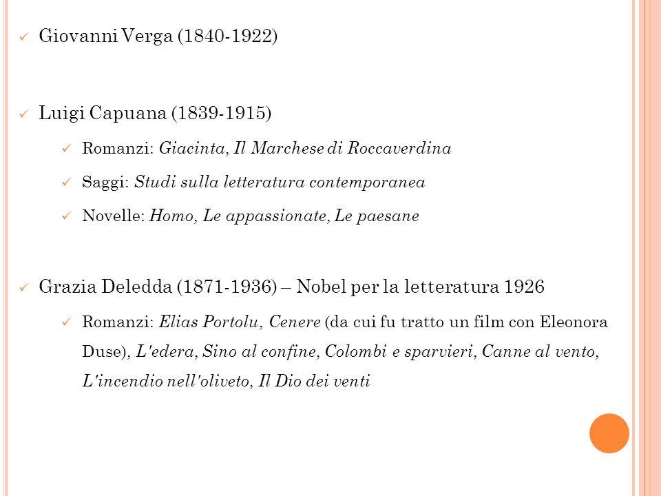Giovanni Verga (1840-1922) Luigi Capuana (1839-1915) Romanzi: Giacinta, Il Marchese di Roccaverdina Saggi: Studi sulla letteratura contemporanea Novel