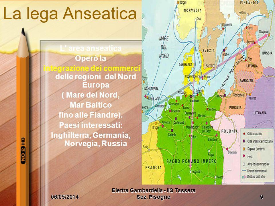 La lega Anseatica L area anseatica Operò la integrazione dei commerci delle regioni del Nord Europa ( Mare del Nord, Mar Baltico fino alle Fiandre).