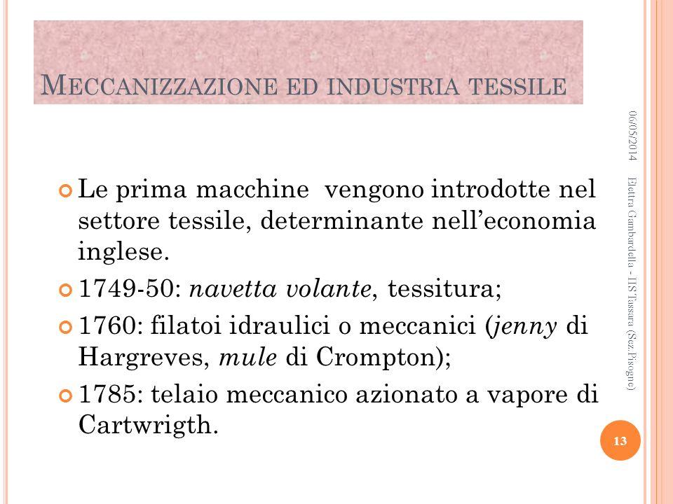 M ECCANIZZAZIONE ED INDUSTRIA TESSILE Le prima macchine vengono introdotte nel settore tessile, determinante nelleconomia inglese. 1749-50: navetta vo
