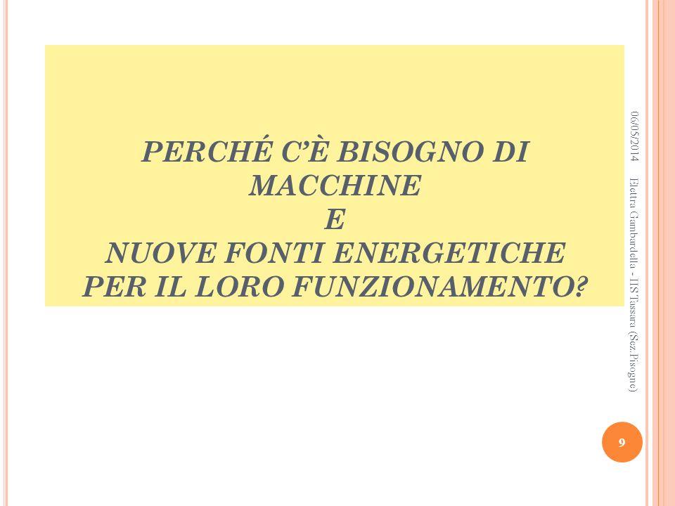PERCHÉ CÈ BISOGNO DI MACCHINE E NUOVE FONTI ENERGETICHE PER IL LORO FUNZIONAMENTO? 06/05/2014 9 Elettra Gambardella - IIS Tassara (Sez.Pisogne)