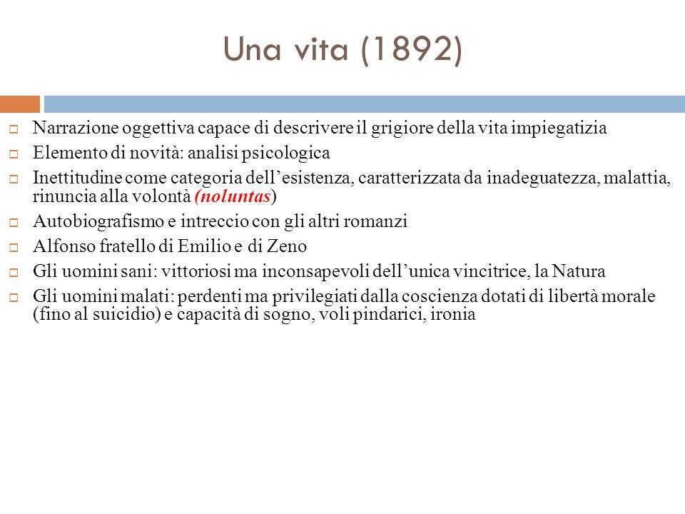 Una vita (1892) Narrazione oggettiva capace di descrivere il grigiore della vita impiegatizia Elemento di novità: analisi psicologica Inettitudine com