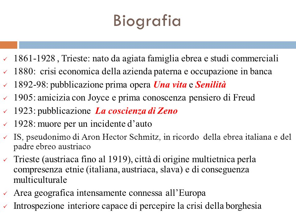 Biografia 1861-1928, Trieste: nato da agiata famiglia ebrea e studi commerciali 1880: crisi economica della azienda paterna e occupazione in banca 189
