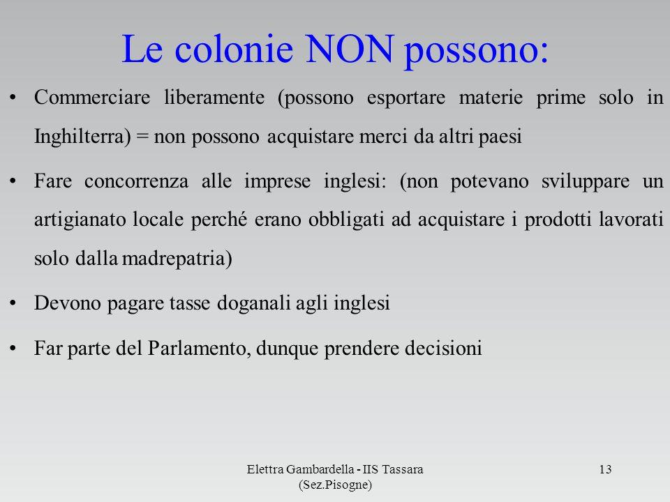 Le colonie NON possono: Commerciare liberamente (possono esportare materie prime solo in Inghilterra) = non possono acquistare merci da altri paesi Fa