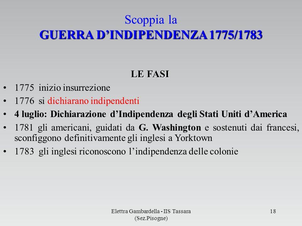 GUERRA DINDIPENDENZA 1775/1783 Scoppia la GUERRA DINDIPENDENZA 1775/1783 1775 inizio insurrezione 1776 si dichiarano indipendenti 4 luglio: Dichiarazi