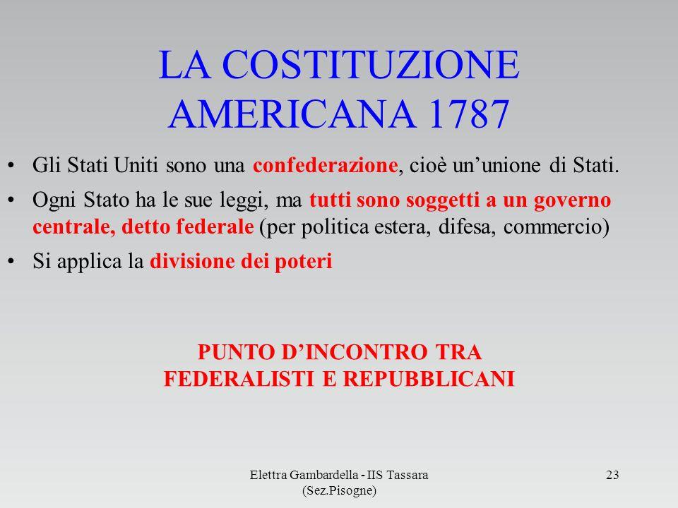 LA COSTITUZIONE AMERICANA 1787 Gli Stati Uniti sono una confederazione, cioè ununione di Stati. Ogni Stato ha le sue leggi, ma tutti sono soggetti a u