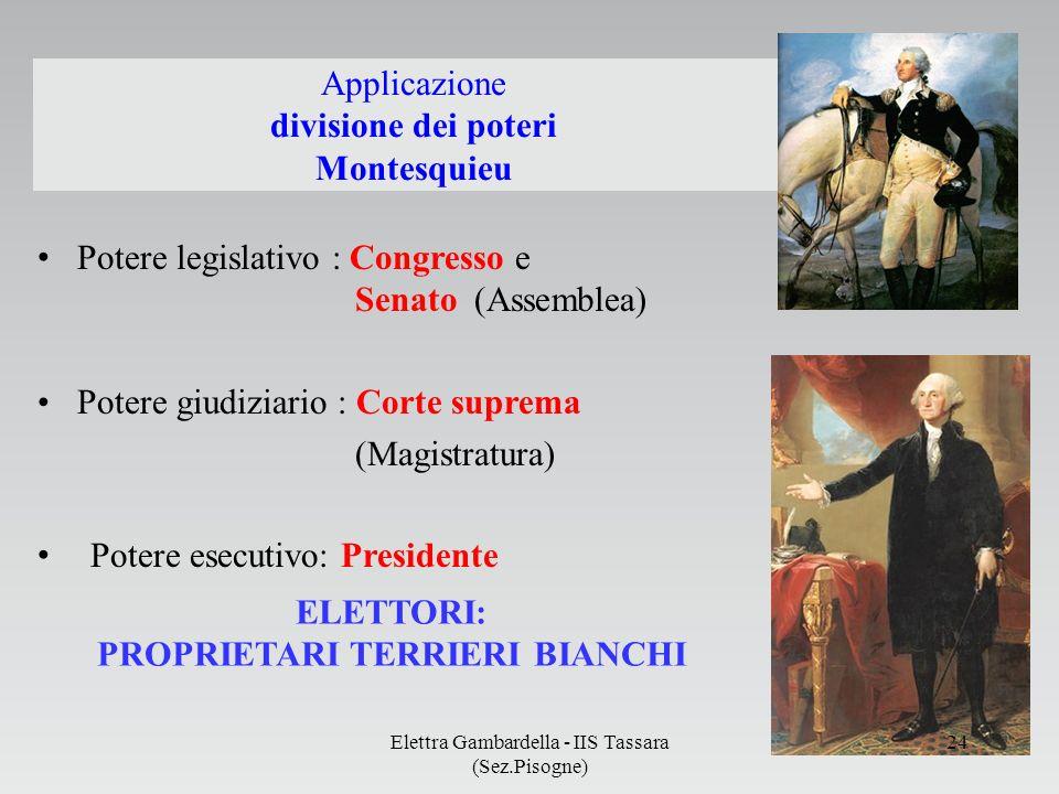 Applicazione divisione dei poteri Montesquieu Potere legislativo : Congresso e Senato (Assemblea) Potere giudiziario : Corte suprema (Magistratura) Po