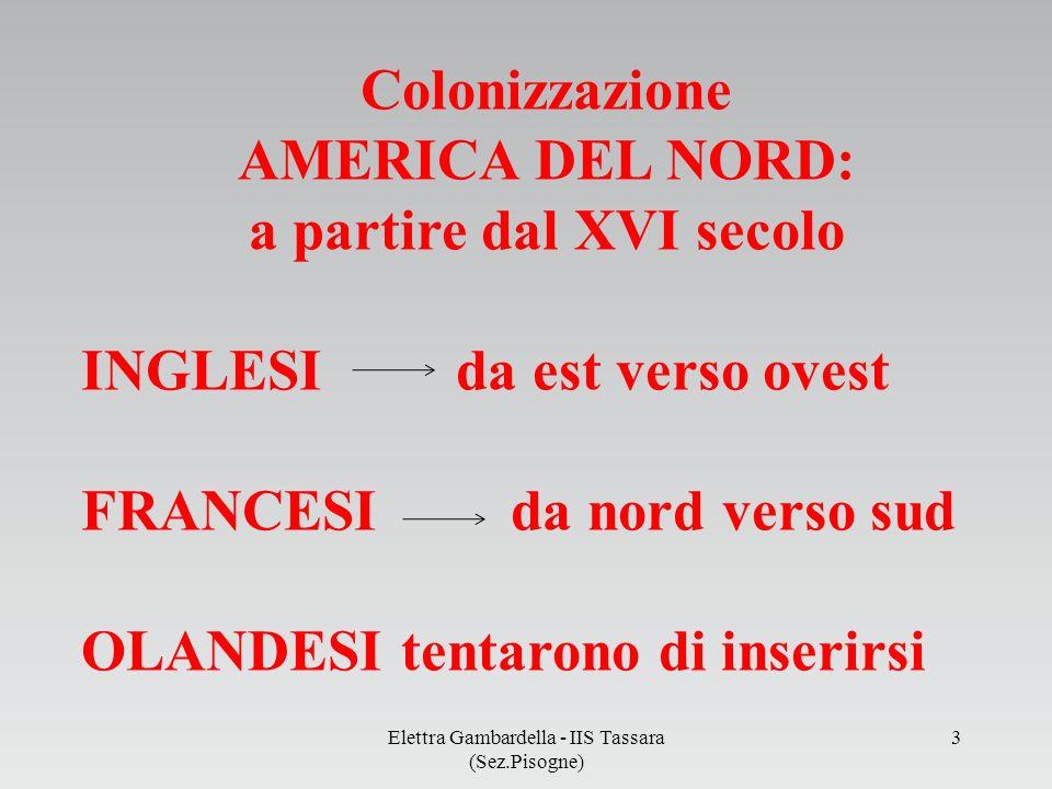 Colonizzazione AMERICA DEL NORD: a partire dal XVI secolo INGLESI da est verso ovest FRANCESI da nord verso sud OLANDESI tentarono di inserirsi Elettr