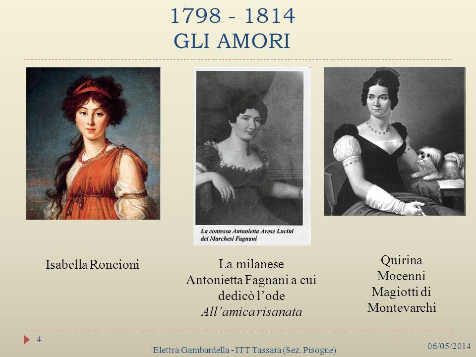 1798 - 1814 GLI AMORI Isabella Roncioni La milanese Antonietta Fagnani a cui dedicò lode Allamica risanata Quirina Mocenni Magiotti di Montevarchi 06/