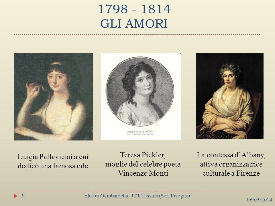 1798 - 1814 GLI AMORI Luigia Pallavicini a cui dedicò una famosa ode Teresa Pickler, moglie del celebre poeta Vincenzo Monti La contessa dAlbany, atti