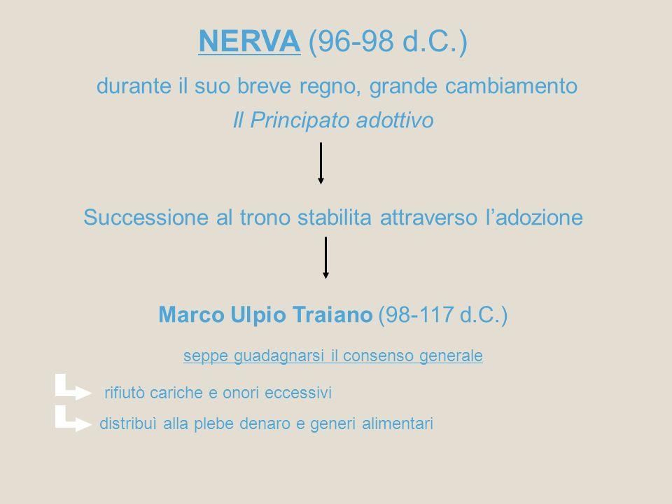 NERVA (96-98 d.C.) durante il suo breve regno, grande cambiamento Il Principato adottivo Successione al trono stabilita attraverso ladozione Marco Ulp