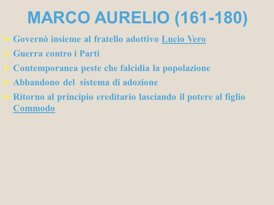 MARCO AURELIO (161-180) Governò insieme al fratello adottivo Lucio Vero Guerra contro i Parti Contemporanea peste che falcidia la popolazione Abbandon