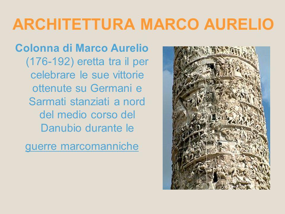 ARCHITETTURA MARCO AURELIO Colonna di Marco Aurelio (176-192) eretta tra il per celebrare le sue vittorie ottenute su Germani e Sarmati stanziati a no