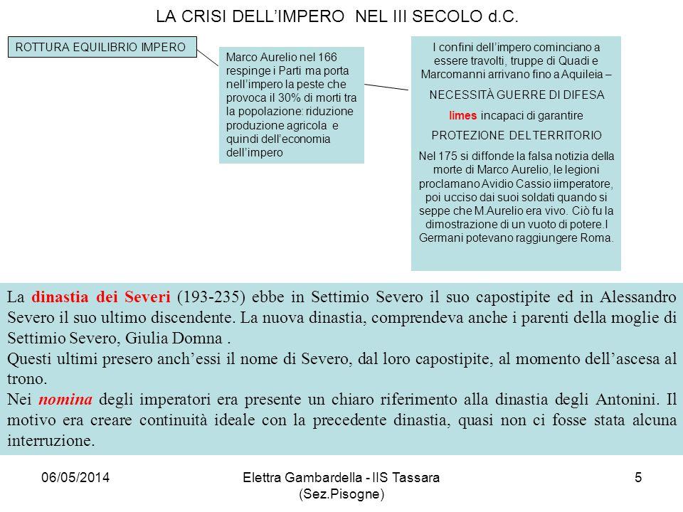 LA CRISI DELLIMPERO NEL III SECOLO d.C. ROTTURA EQUILIBRIO IMPERO Marco Aurelio nel 166 respinge i Parti ma porta nellimpero la peste che provoca il 3