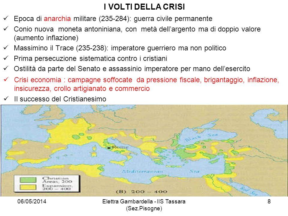 I VOLTI DELLA CRISI Epoca di anarchia militare (235-284): guerra civile permanente Conio nuova moneta antoniniana, con metà dellargento ma di doppio v