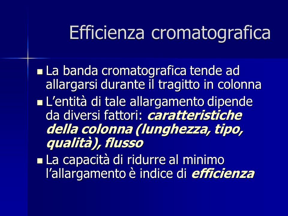 La banda cromatografica tende ad allargarsi durante il tragitto in colonna La banda cromatografica tende ad allargarsi durante il tragitto in colonna Lentità di tale allargamento dipende da diversi fattori: caratteristiche della colonna (lunghezza, tipo, qualità), flusso Lentità di tale allargamento dipende da diversi fattori: caratteristiche della colonna (lunghezza, tipo, qualità), flusso La capacità di ridurre al minimo lallargamento è indice di efficienza La capacità di ridurre al minimo lallargamento è indice di efficienza