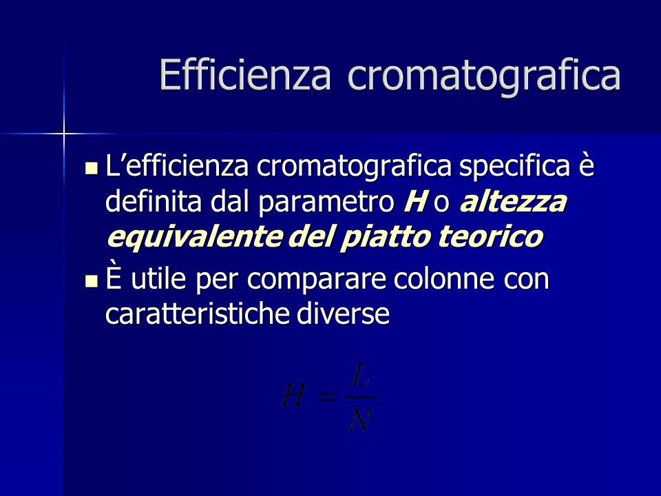 Lefficienza cromatografica specifica è definita dal parametro H o altezza equivalente del piatto teorico Lefficienza cromatografica specifica è definita dal parametro H o altezza equivalente del piatto teorico È utile per comparare colonne con caratteristiche diverse È utile per comparare colonne con caratteristiche diverse