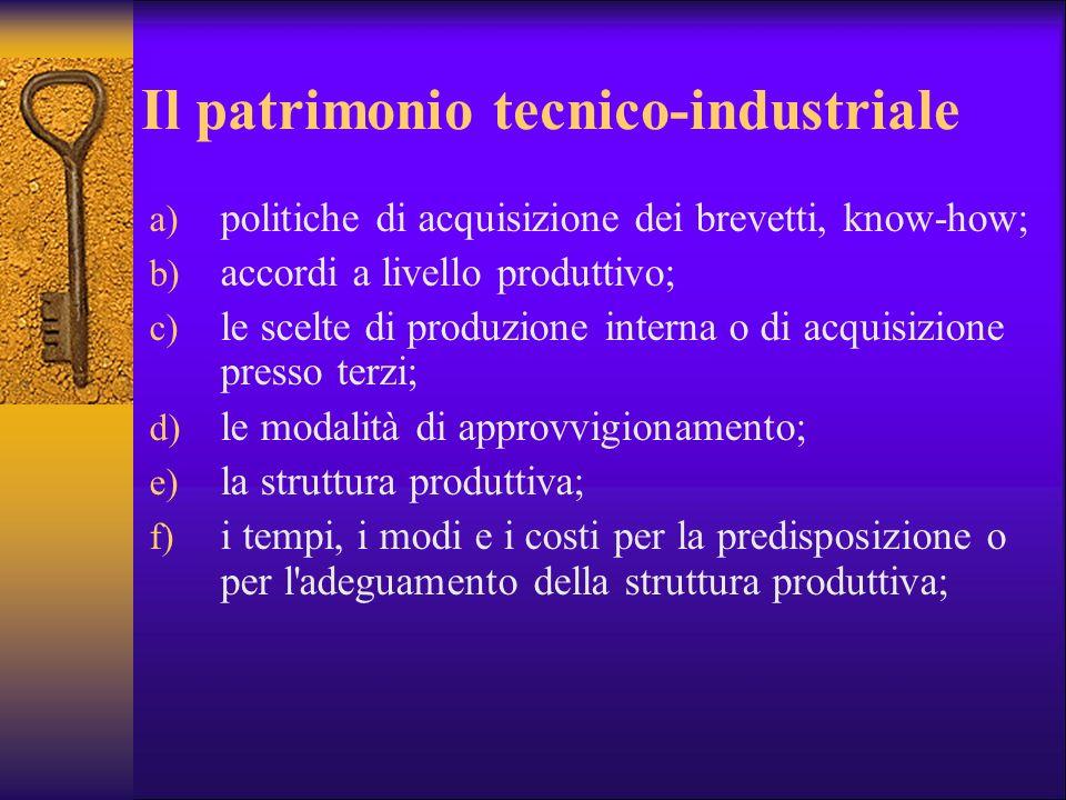 Il patrimonio tecnico-industriale a) politiche di acquisizione dei brevetti, know-how; b) accordi a livello produttivo; c) le scelte di produzione int