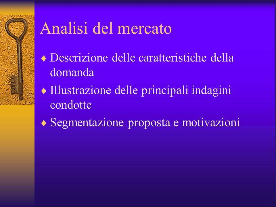 Analisi del mercato Descrizione delle caratteristiche della domanda Illustrazione delle principali indagini condotte Segmentazione proposta e motivazi
