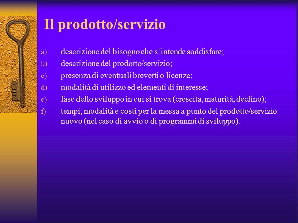 Il prodotto/servizio a) descrizione del bisogno che sintende soddisfare; b) descrizione del prodotto/servizio; c) presenza di eventuali brevetti o lic