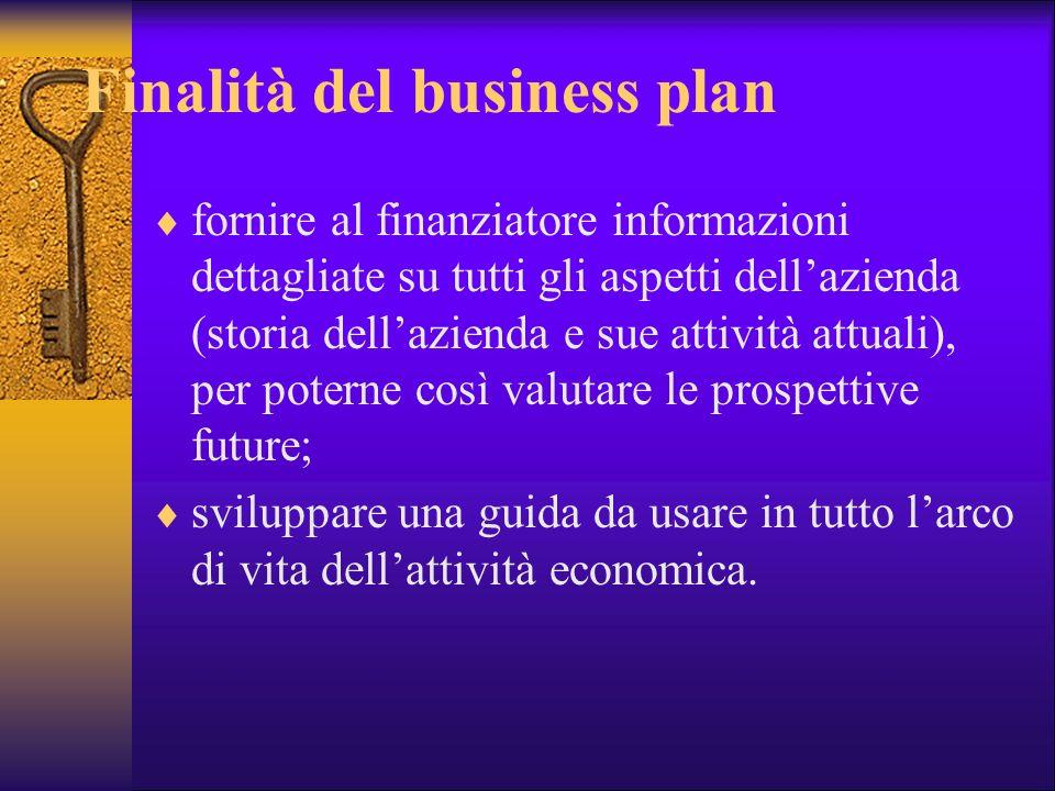 Finalità del business plan fornire al finanziatore informazioni dettagliate su tutti gli aspetti dellazienda (storia dellazienda e sue attività attual