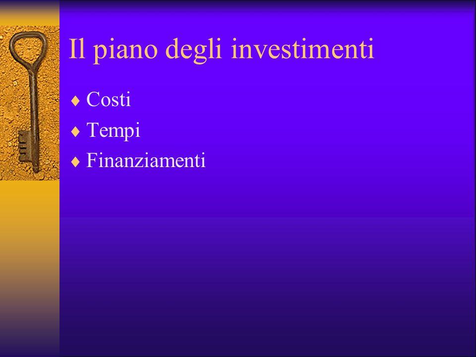 Il piano degli investimenti Costi Tempi Finanziamenti