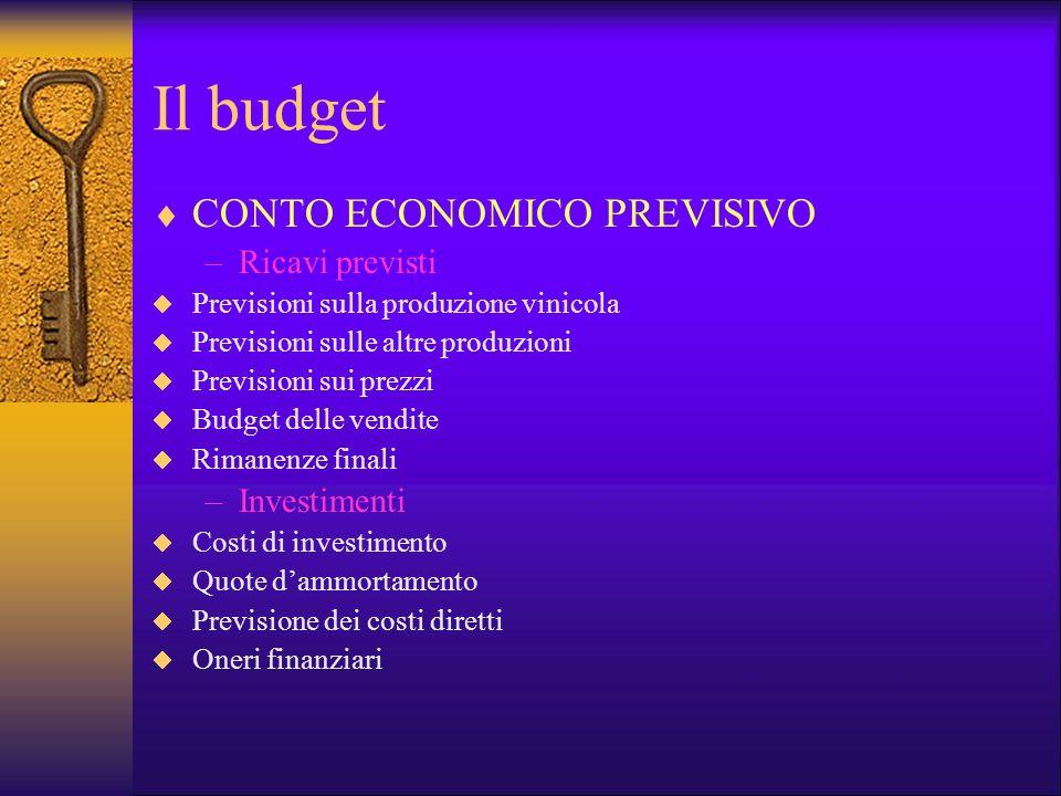 Il budget CONTO ECONOMICO PREVISIVO –Ricavi previsti Previsioni sulla produzione vinicola Previsioni sulle altre produzioni Previsioni sui prezzi Budg