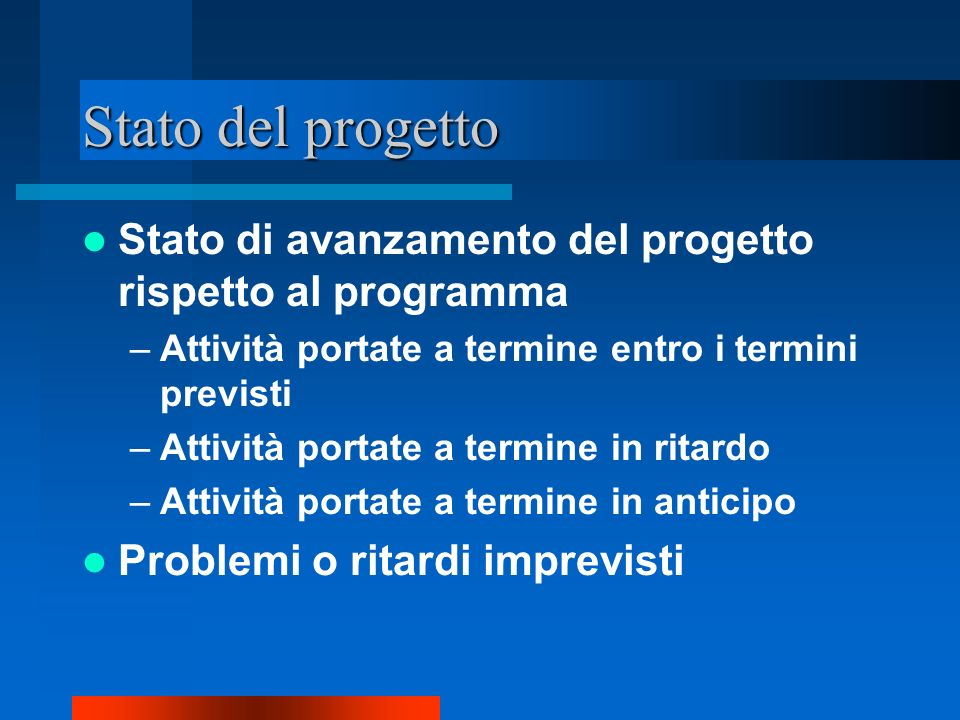 Stato del progetto Stato di avanzamento del progetto rispetto al programma –Attività portate a termine entro i termini previsti –Attività portate a te