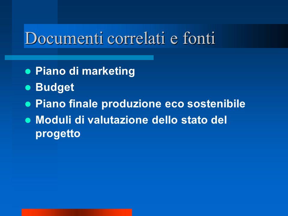 Documenti correlati e fonti Piano di marketing Budget Piano finale produzione eco sostenibile Moduli di valutazione dello stato del progetto