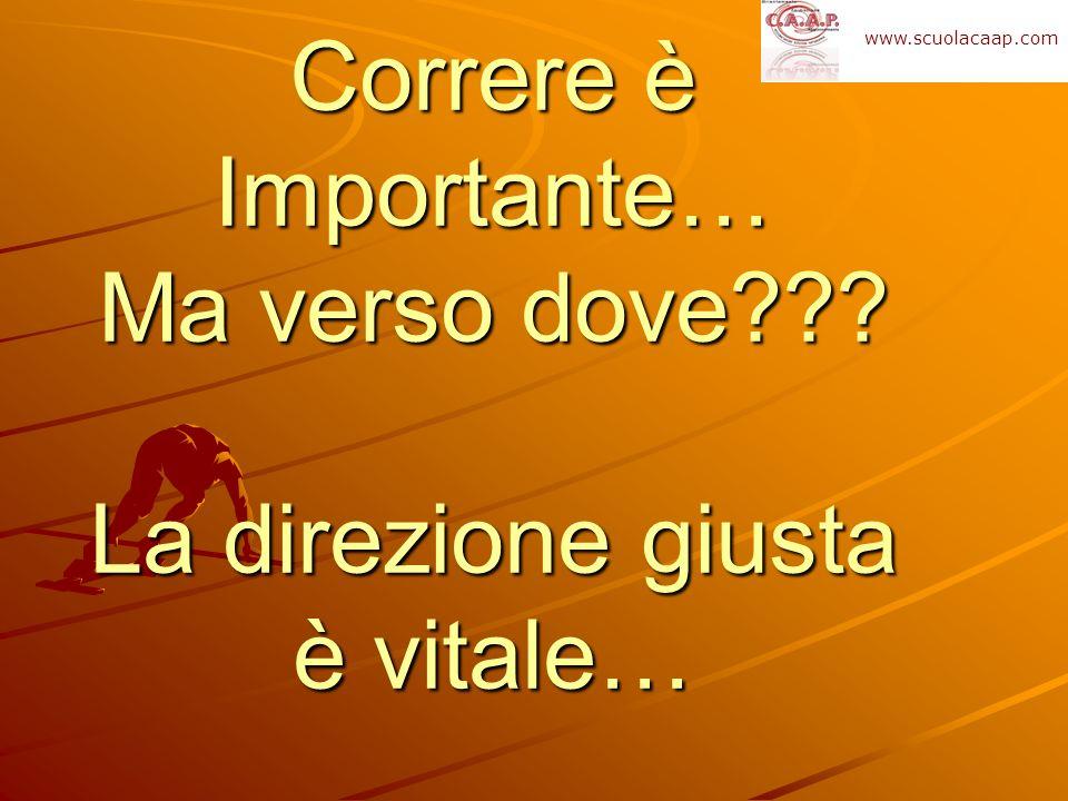 Correre è Importante… Ma verso dove??? La direzione giusta è vitale… www.scuolacaap.com