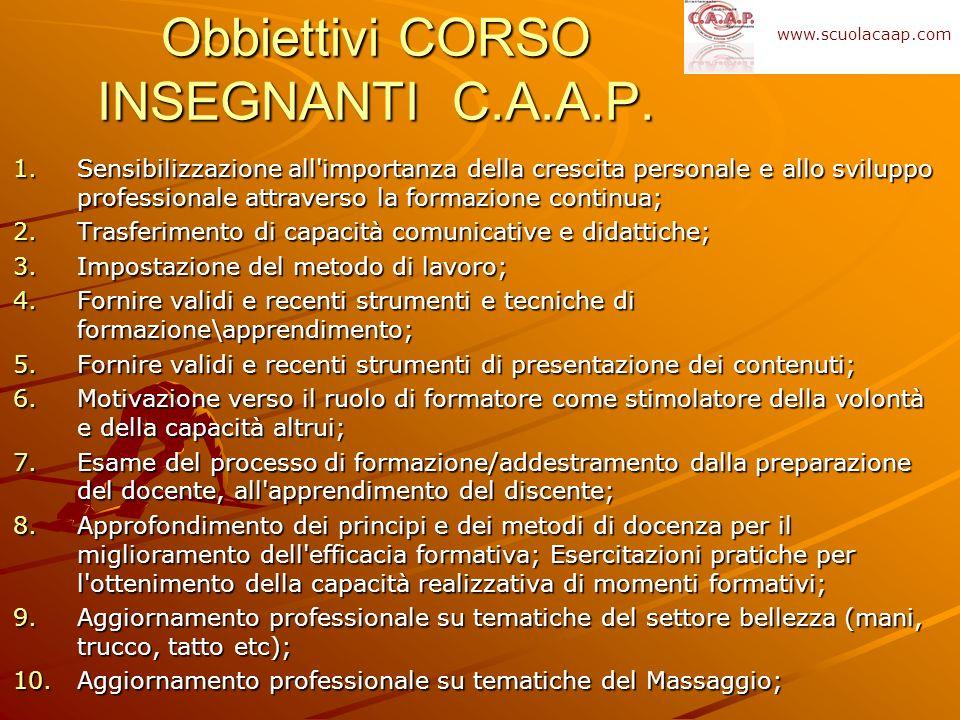 Obbiettivi CORSO INSEGNANTI C.A.A.P. 1.Sensibilizzazione all'importanza della crescita personale e allo sviluppo professionale attraverso la formazion