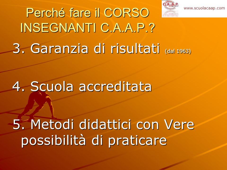 3. Garanzia di risultati (dal 1963) 4. Scuola accreditata 5. Metodi didattici con Vere possibilità di praticare Perché fare il CORSO INSEGNANTI C.A.A.
