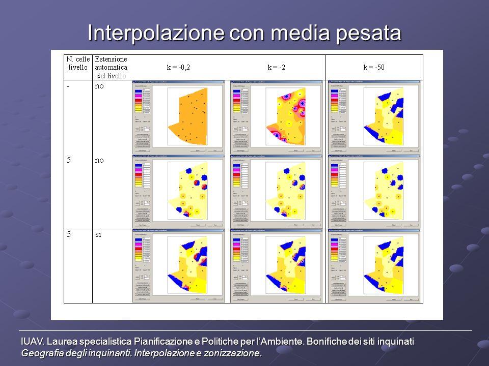 Interpolazione con media pesata IUAV. Laurea specialistica Pianificazione e Politiche per lAmbiente. Bonifiche dei siti inquinati Geografia degli inqu