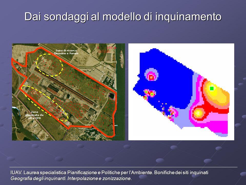 Dai sondaggi al modello di inquinamento Localizzazione dei punti di sondaggio (Database SIS – Comune di Venezia) IUAV.