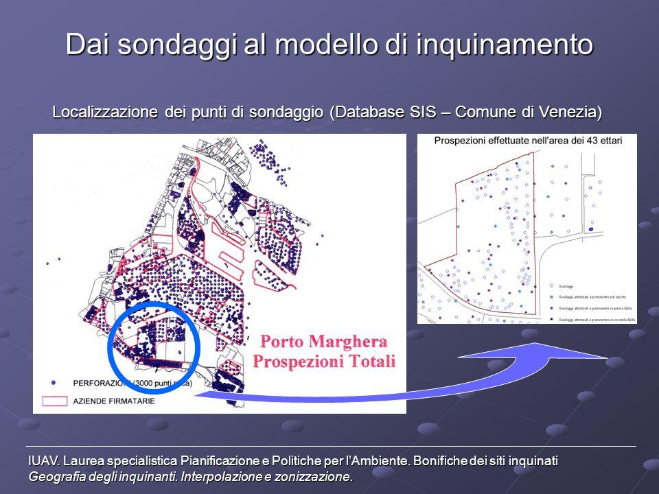 Dai sondaggi al modello di inquinamento Localizzazione dei punti di sondaggio (Database SIS – Comune di Venezia) IUAV. Laurea specialistica Pianificaz