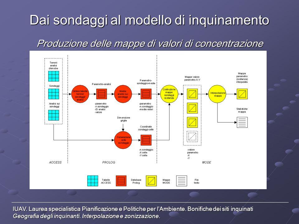 Dai sondaggi al modello di inquinamento Produzione di mappe normalizzate secondo D.M.